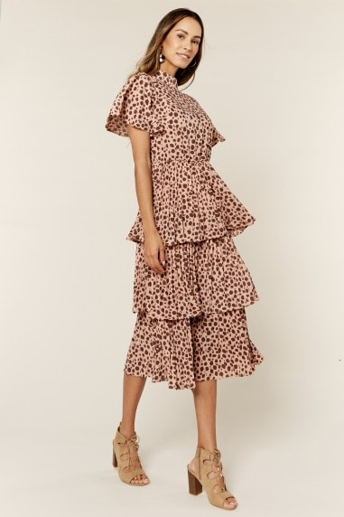 Frill Details Ruffle Turtle Neck Midi Dress in Animal Print