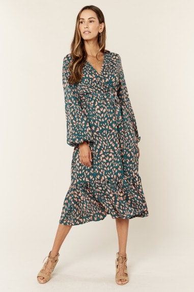 Animal Printed Long sleeve Split detail Midi Wrap Dress in Green