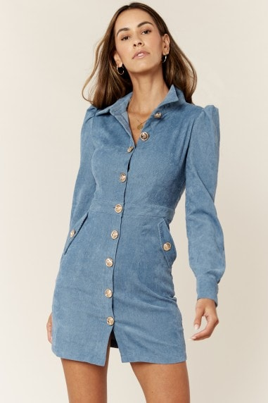 Blue Blazer Dress in Military Cord