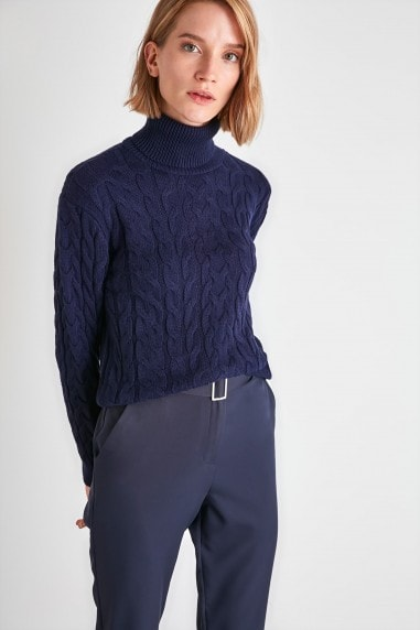 Little Mistress x Trendyol Navy Roll Neck Chunky Knit