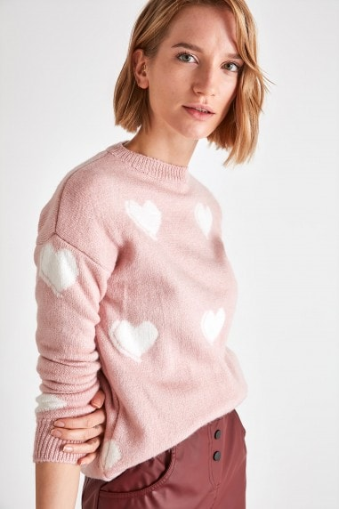 Little Mistress x Trendyol Powder Pink Heart Jumper