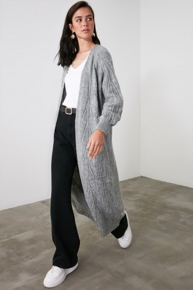 Little Mistress x Trendyol Anthracite Long Cardigan With Pockets