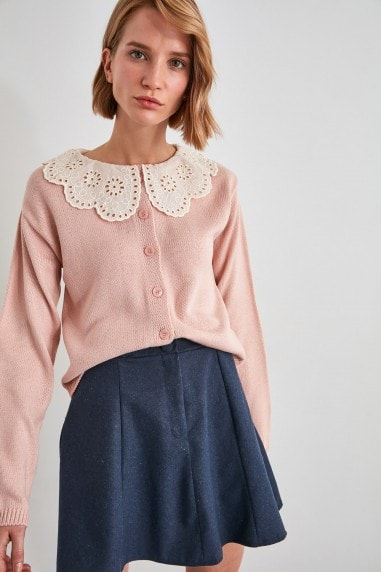 Little Mistress x Trendyol Powder Pink Oversized Collar Jumper