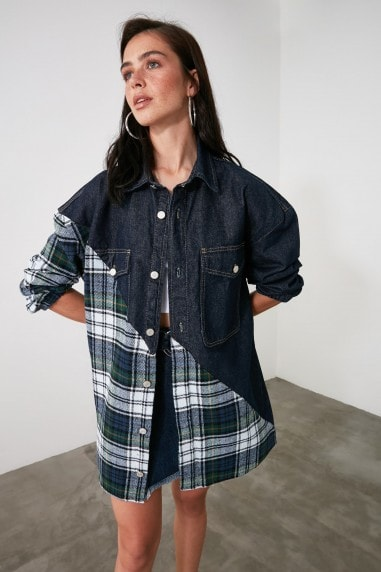 Little Mistress x Trendyol Denim And Blue Check Shacket