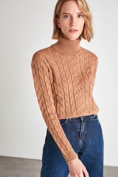 Little Mistress x Trendyol Camel Roll Neck Chunky Knit