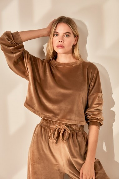 Little Mistress x Trendyol Beige Velour Tracksuit Top Co-ord