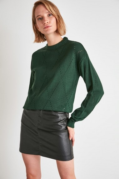 Little Mistress x Trendyol Green High Neck Jumper