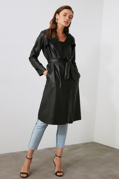 Little Mistress x Trendyol Black PU Tie Trench Coat