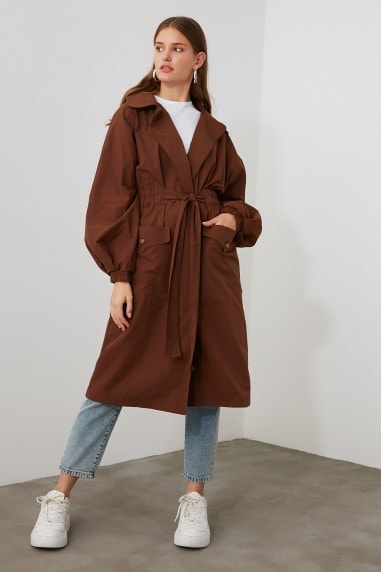 Little Mistress x Trendyol Brown Classic Trench Coat