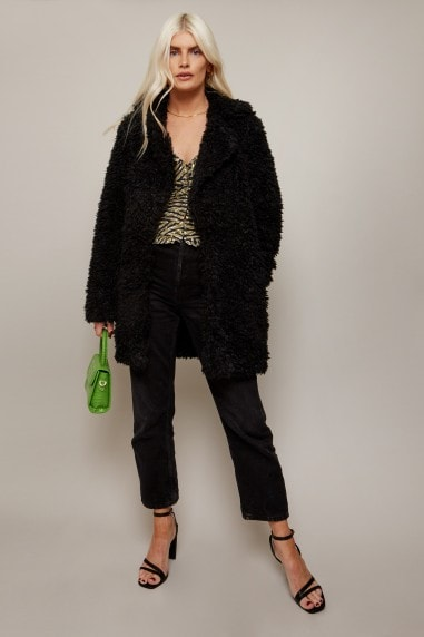 Cormac Black Teddy Coat