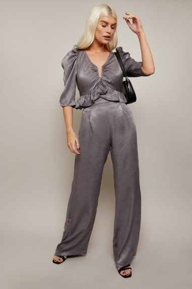 Influence Charcoal Satin Wide-Leg Trousers Co-ord