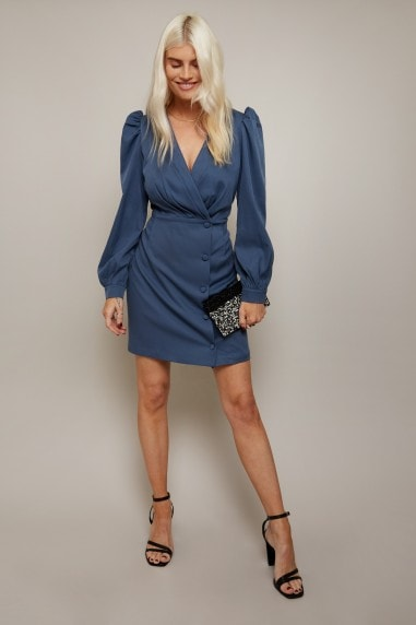 Lino Blue Button Detail Mini Wrap Dress