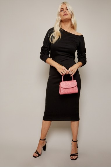 Alec Black Slash-Neck Midi Sweatshirt Dress