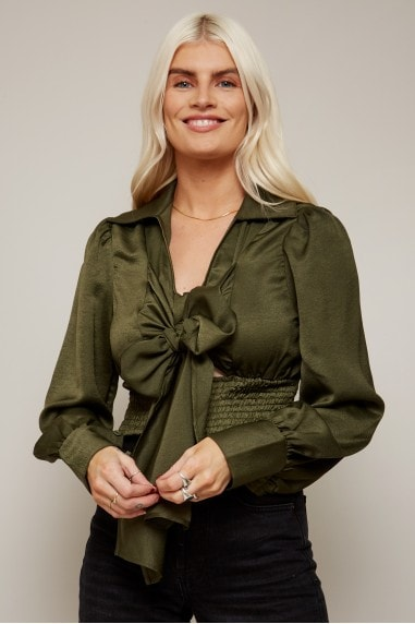 Pippa Khaki Satin Bow Shirred Crop Top
