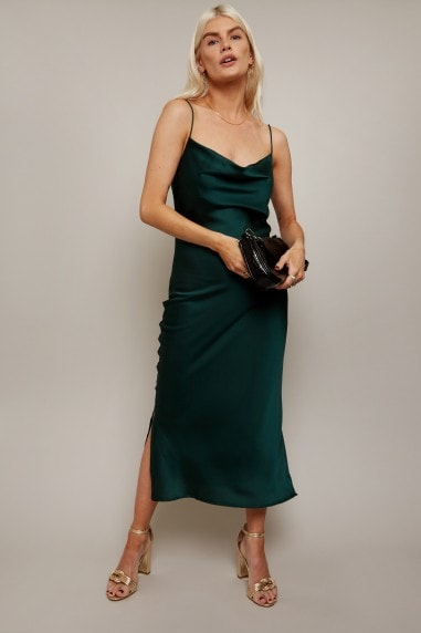 Indie Emerald Green Satin Cowl-Neck Midi Slip Dress