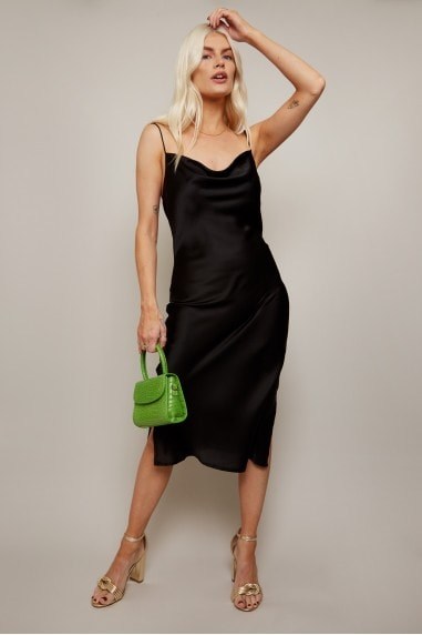 Indie Black Satin Cowl-Neck Midi Slip Dress