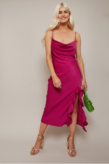 Embrace Magenta Satin Cowl-Neck Midi Slip Dress