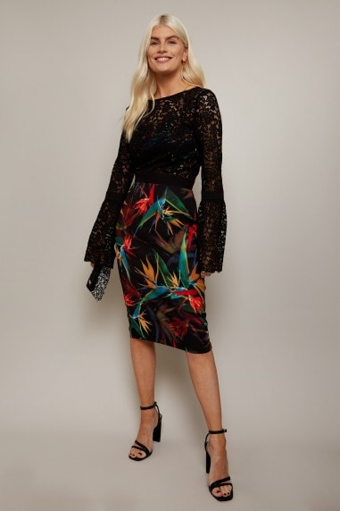 Emas Print And Lace Overlay Dress