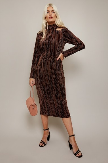 Lazar Copper Lurex Cut-Out Midi Dress