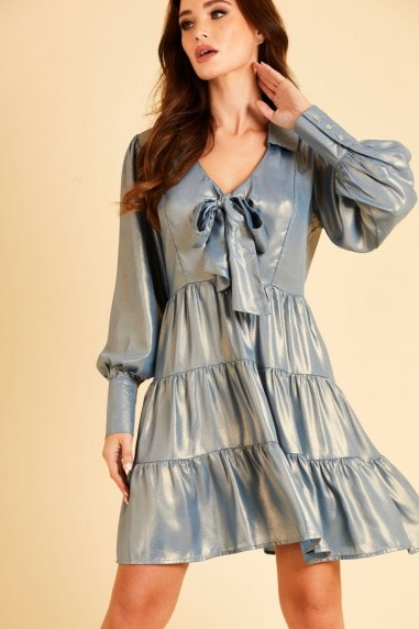 Tiered metallic chiffon shirt dress