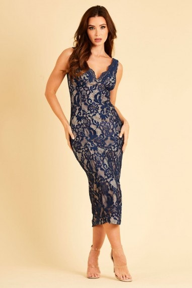 Navy Bonded lace midi dress