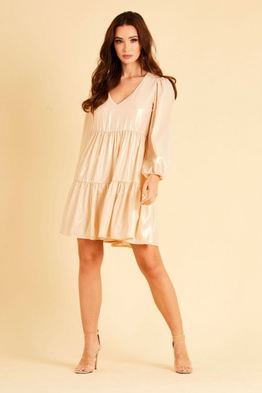 Gold Metallic Chiffon Dress