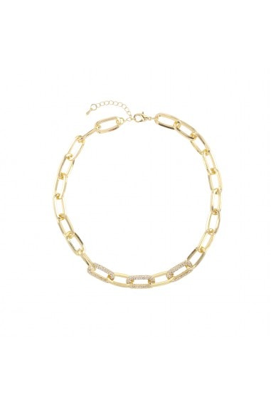 ELONGATED OVAL LINKS WITH CRYSTAL LINKS DETAIL CHAIN NECKLACE