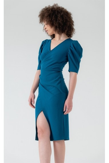 Short Puff Sleeve Wrap Midi Dress in Teal