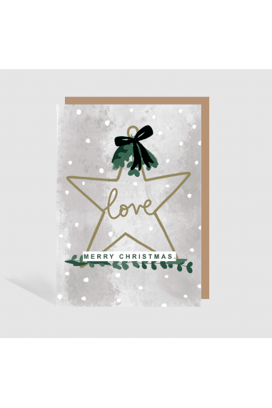 RUSTIC STAR LOVE CHRISTMAS CARD