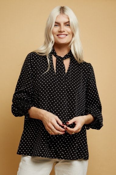 Black Polka-Dot Tie-Neck Blouse