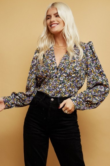 Lister Floral-Print Button Through Top