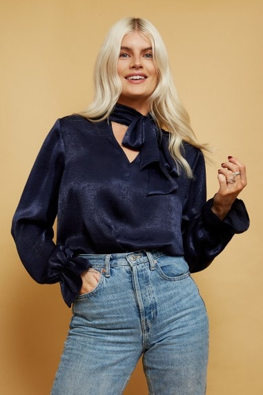 Duel Navy Satin Tie-Neck Blouse