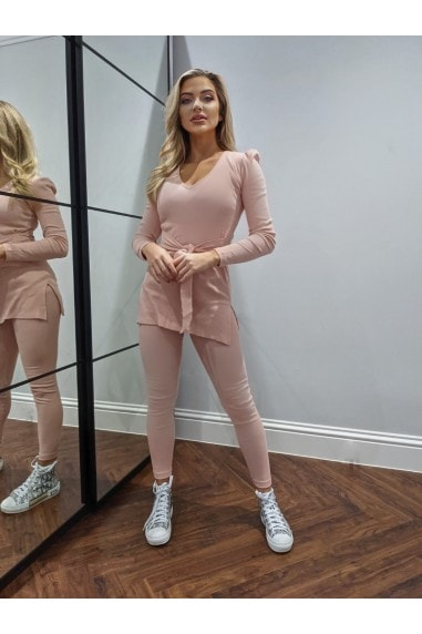 Dusty Pink Ribbed High-Waist Leggings Loungewear Co-ord