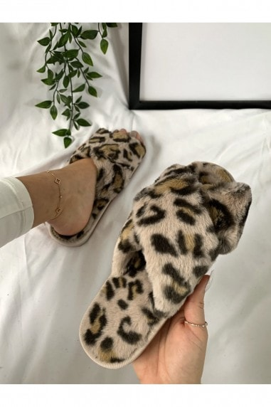 Cream Leopard-Print Faux-Fur Crossover Slippers