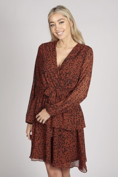 FULL SLEEVE LEOPARD PRINT LAYER DRESS IN BROWN