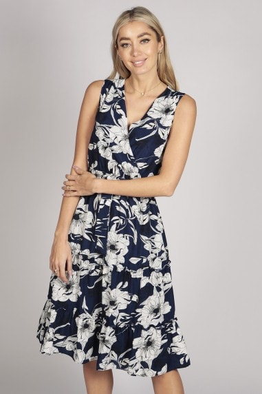 SLEEVELESS FLORAL TIER RUFFLE MIDI DRESS IN BLUE WHITE