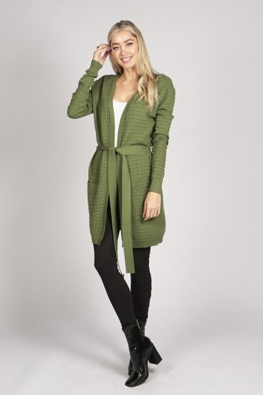 FULL SLEEVE KNITTED LONG CARDIGAN OUTERWEAR IN GREEN