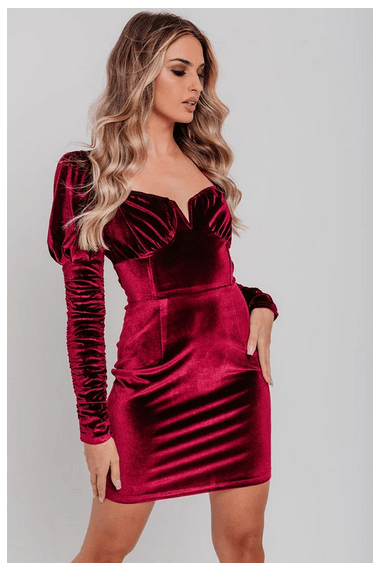 Limited Edition Burgundy Velvet Ruched Long Sleeve V Neck Bodycon Dress