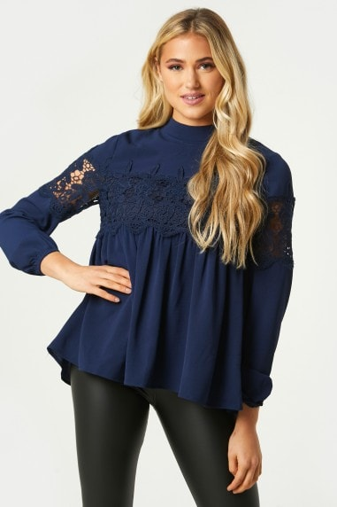 Tivoli Navy Crochet Lace Panel Top