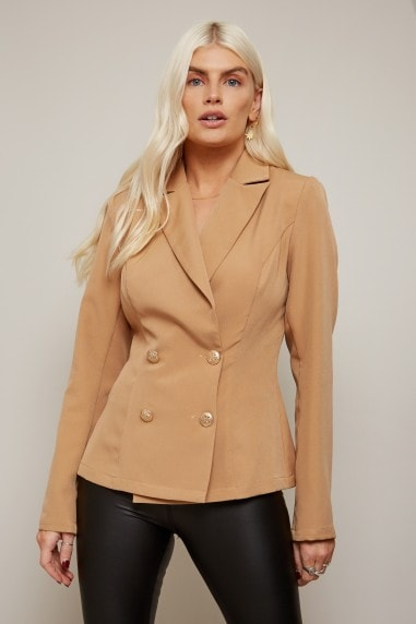 Forever Camel Double-Breasted Blazer Co-ord