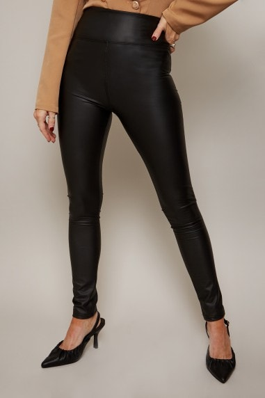 Slick Black PU Faux Leather Leggings