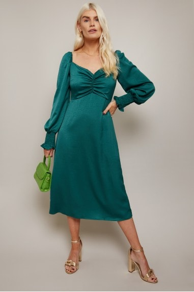 Lima Emerald Green Sweetheart Midi Tea Dress