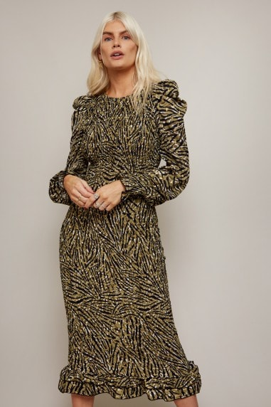 Momentum Animal-Print Gold Foil Plisse Midi Dress