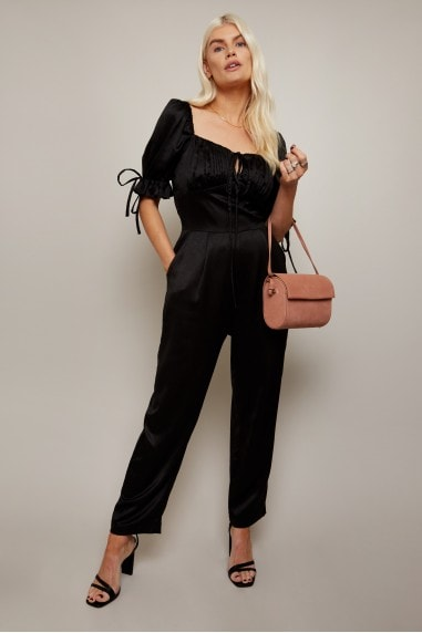 Obsession Black Satin Milkmaid Jumpsuit