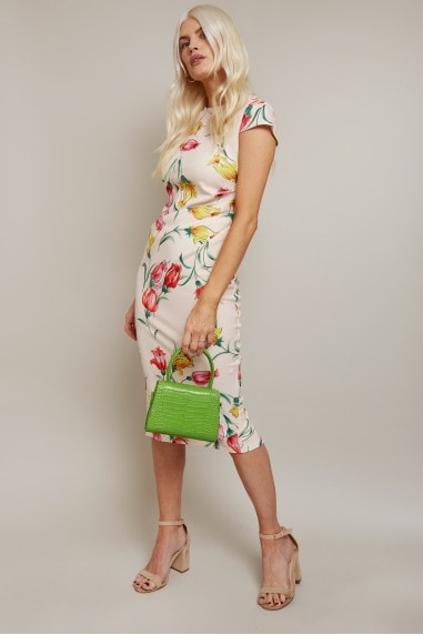 Alicia Floral-Print Gathered Side Dress