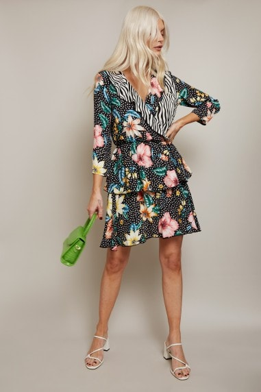 Finlay Mixed-Print Tiered Tea Dress