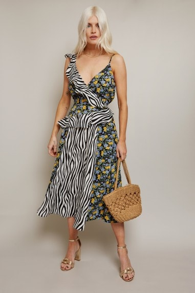 Terra Mixed-Print Frill Midi Dress