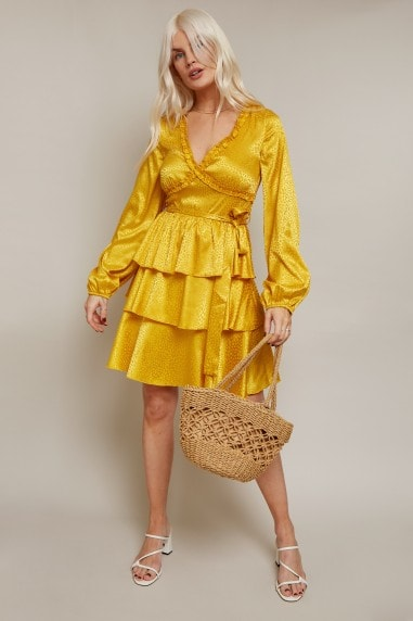 Alfie Mustard Satin Frill Mini Dress