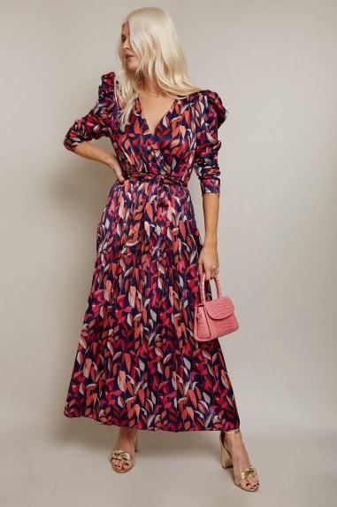 Fletcher Leaf-Print Satin Pleated Midi Dress