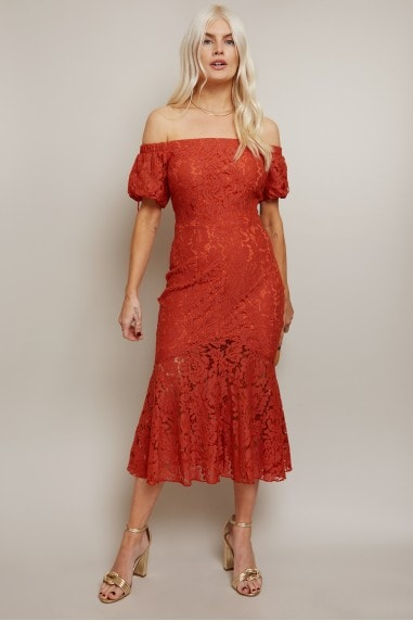 Winnie Rust Lace Bardot Peplum Midi Dress
